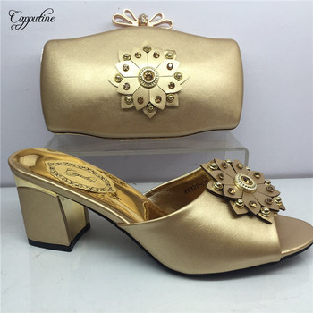 Exellent gold African pump slipper shoes and handbag set GY30, heel height 6cm, many color