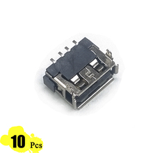 10Pcs/Lot Type A 10*13 Female USB 4 Pin Plug Socket Jack Connector Plug Socket with Cover Seat Welding Wire Adapeter Short body