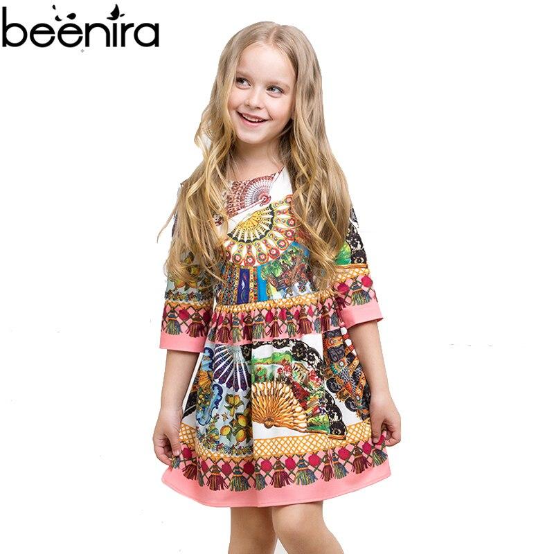 BEENIRA Summer Girls Banquet Dress Child Retro Fan Print High Quality Clothing for Party 2017 emoji print high low night dress