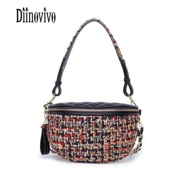 DIINOVIVO Color Fiber Knit Women Waist Packs Fashion Design Shoulder Bags Simple PU Leather Waist Bag Vintage Chains Bag DNV0507