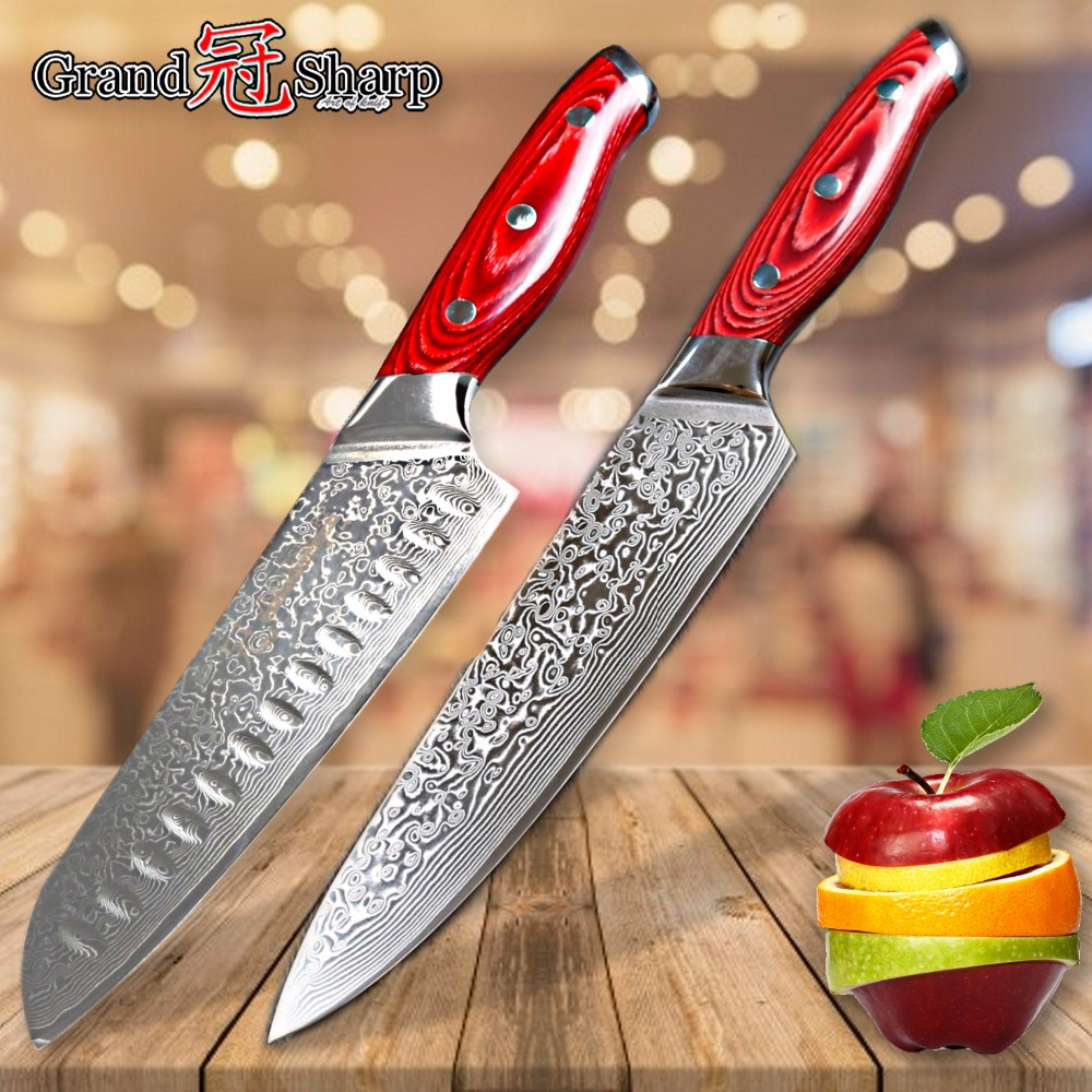 Knife Set 2 Piece Damascus Kitchen Knives Chef Santoku Knife Japanese Damascus Stainless Steel vg10 Sharp