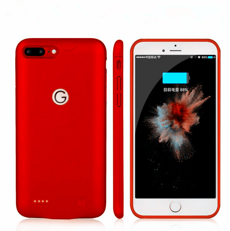 imágenes para Delgado ultra fino banco de potencia para iphone 6 6s 6 plus 6s plus carga de la batería para iphone 7 iphone 7 plus caso de alimentación rojo negro