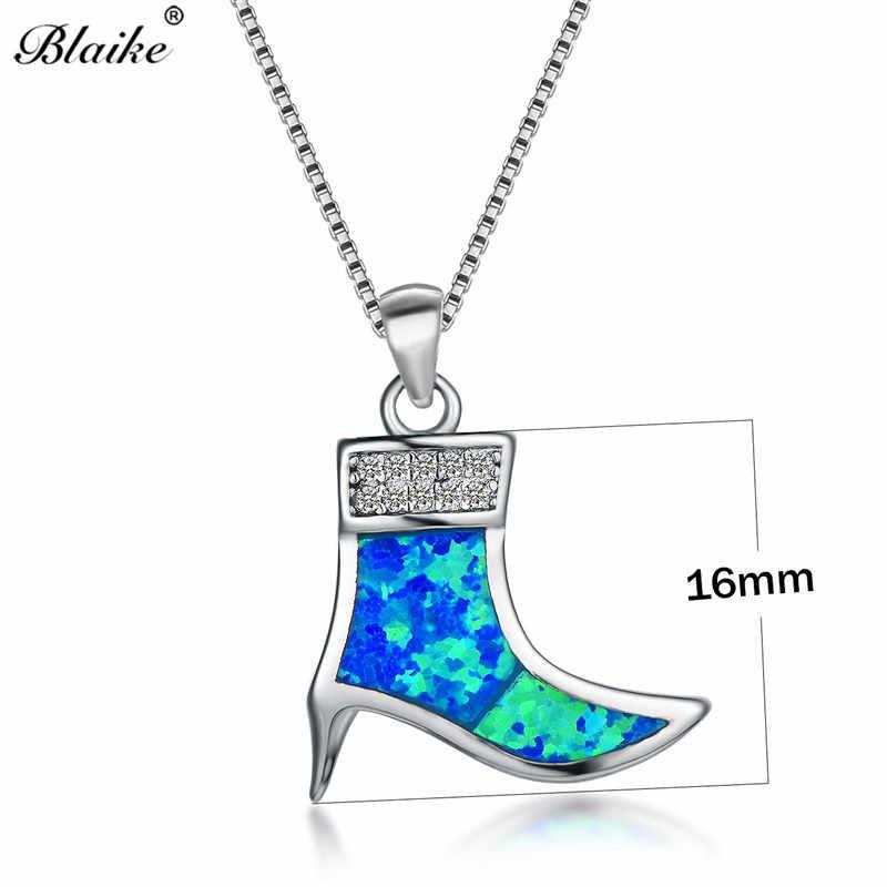 ... Blaike Cute Ankle Boots Design White Blue Fire Opal Pendants Neckalces  Women 925 Sterling Silver ... 95ecf1f05917