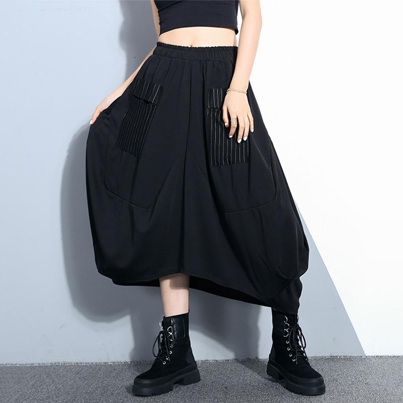 Jupe Nuevo Femme Mujeres Bolsillo Black Primavera Mujer Larga Falda 2019 Y Negro Streetwear Tutu A Irregular Moda Con Rayas De Verano qFHU66
