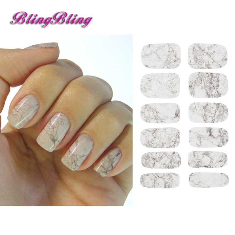 Blingbling 2pcs Marble Nail Sticker New Nails Water Stickers Decals Flower Design Manicure Nail Art Decoration 11sheet set bjc023 033 cat nail design gitter christmas nail sticker decals water sticker for water decals nail art stickers