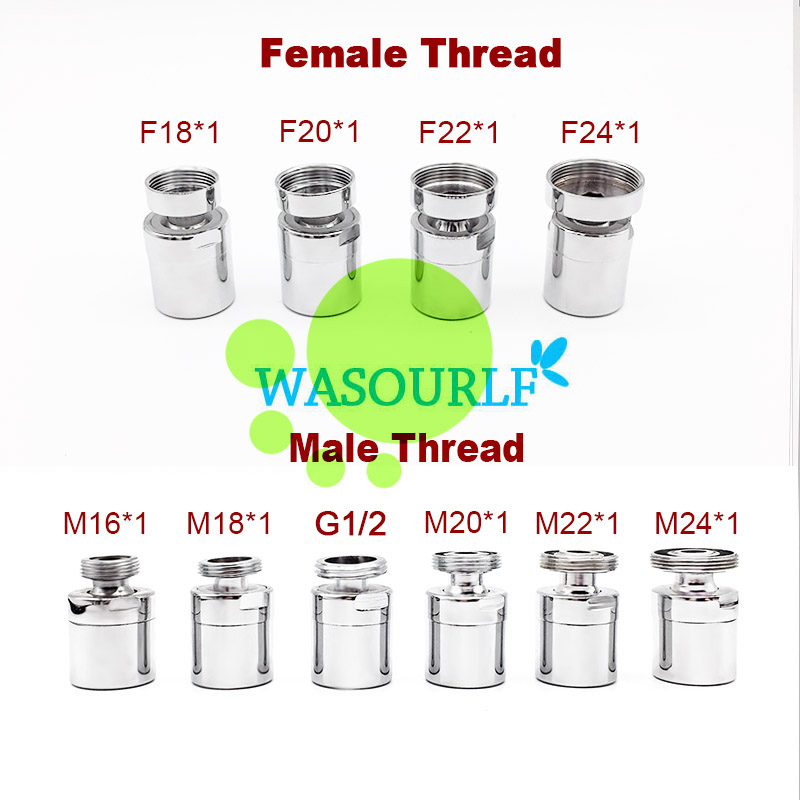 WASOURLF Adjustable 360 Swivel Water Saving Faucet Aerator M22 Adapter Male Thread M24 M20 1/2 Kitchen Tap Sprayer Accessories