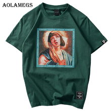 Aolamegs T Shirt Men Virgin Mary Men's T-Shirts Funny Printed Short Sleeve Summer Hip Hop Casual Cotton Tops Tees Streetwear все цены