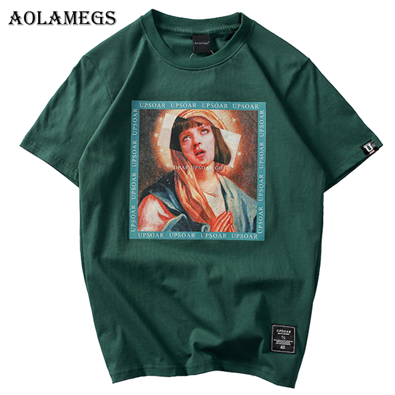 Aolamegs   T     Shirt   Men Virgin Mary Men's   T  -  Shirts   Funny Printed Short Sleeve Summer Hip Hop Casual Cotton Tops Tees Streetwear