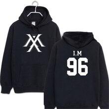 חדש מלא MONSTA X kpop אותו יוניסקס צמר סלעית חולצות חיצוני k-pop מלא MONSTA X im נים ארוך שרוול ברדס בגדים