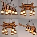 Современный скандинавский Лофт креативная люстра из цельного дерева ретро арт ресторан кафе бар промышленные подвесные лампы домашний Дек...