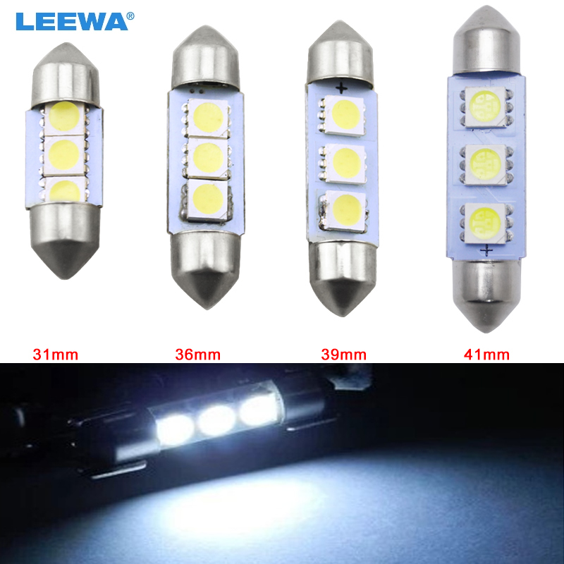 LEEWA 1pc White Car Auto 31mm 36mm 39mm 41mm 5050 Chip 3-SMD Reading Lights Festoon Dome LED Light Bulbs #CA3052 festoon 36mm 1 8w 180lm 9 x smd 5050 led white light car reading roof dome lamp 12v pair