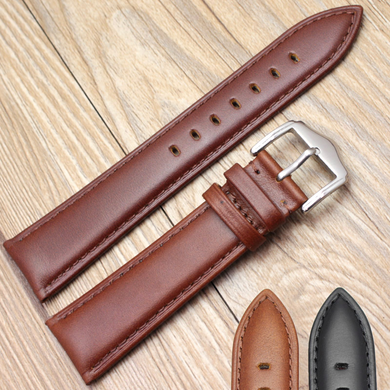 HENGRC New Genuine Leather Watch Bands Strap Bracelet Black Brown 18mm 19mm 20mm 21mm 22mm 24mm Watchbands Accessories new mens genuine leather watch strap bands bracelets black alligator leather 18mm 19mm 20mm 21mm 22mm 24mm without buckle