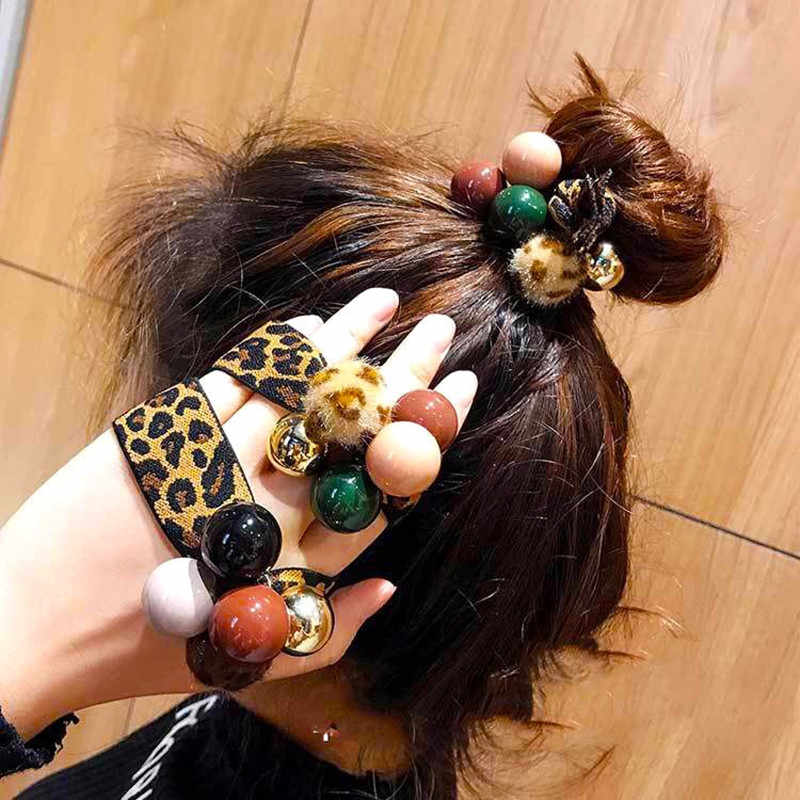 1 New hair rope ladies leopard imitation pearl rubber elastic hair band girls punk ponytail striped hair accessories hair rope