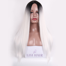LISI HAIR 26Inch Long Straight Wig Synthetic Hair Wigs For Woman Black Ombre White High Temperature Fiber Pink Blonde Cosplay