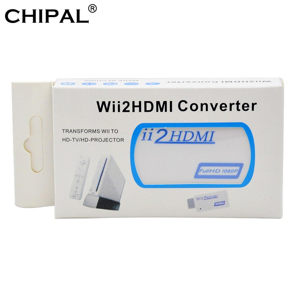 Wii2hdmi adaptador pacote original completo hd 720p 1080p hdtv monitor de exibição para wii para hdmi conversor 3.5mm saída de áudio e vídeo