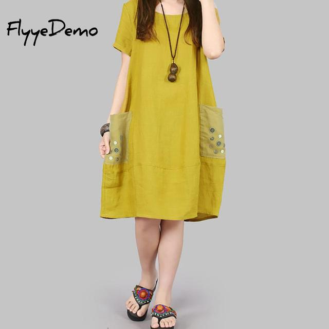 e74682fb13 Loose Summer Dress Short Sleeve Women Dress Pockets Casual Cotton Linen  Dress Solid Color O-Neck Vestidos de Festa Big Size