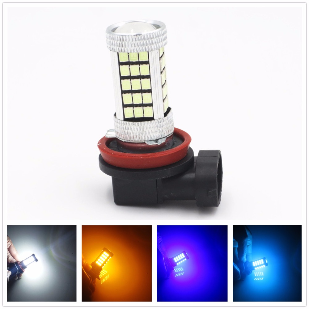 H11 H8 2835 63 SMD 66 LED Car Auto Projector Fog Driving Bulb White Blue Red Car Light Source 12V