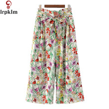 2017 Summer Autumn Women Print Flower Pattern Wide Leg Loose Dress Pants Female Casual Skirt Trousers Capris Culottes DK22