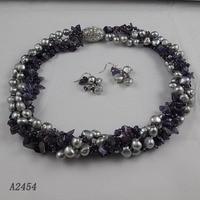 New Arriver Pearl Jewellery Set For Women Purple Amethyst Gray Freshwater Pearl Necklace Earrings Rhinestone Magnet Clasp