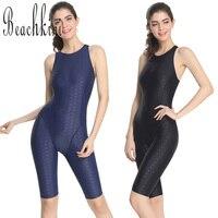 2017 New One Piece Long Leg Boyshorts Bodysuits Solid Sharkskin Swimsuit Women Slimming Swimwear Sport Bathing