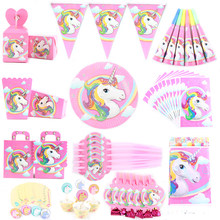 Birthday Party Disposable Tableware Set Unicorn Party Paper Plate Cup Napkin Hat Tablecloth Banner Kids Happy Birthday Supplies(China)