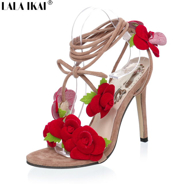 f73bfecd8d8cd LALA IKAI Flower Open Toe Women Sandals Women Summer Pumps Fashion Lace Up Sandals  Women High ...