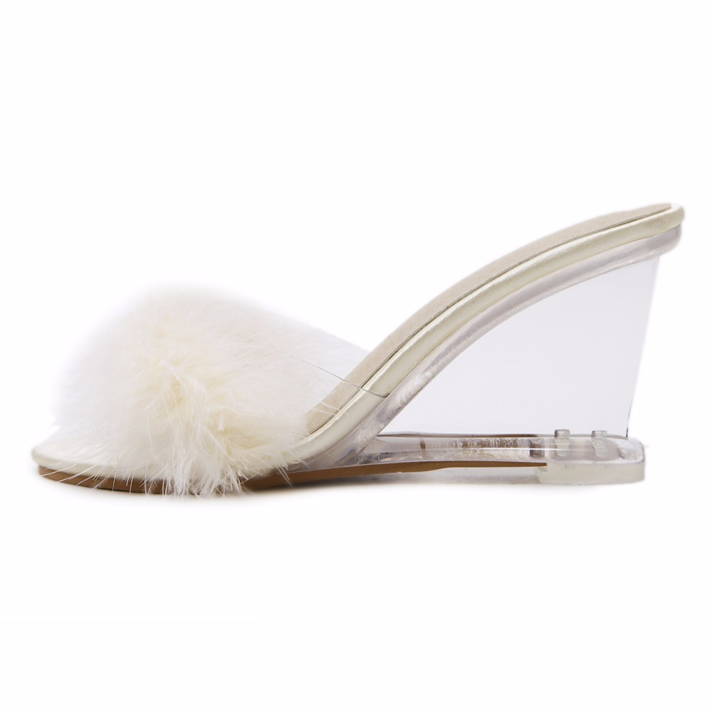 3 Color Female Slipper 35-40 Women Shoes Slides Ultra-high-heeled 8.5cm Feather Wedges Crystal Transparent Wedding Shoes 49