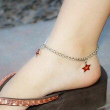 Oem de fábrica tobilleras de acero inoxidable de la estrella cadena del tobillo del encanto pulseras para el tobillo del pie joyería tobilleras para para niñas