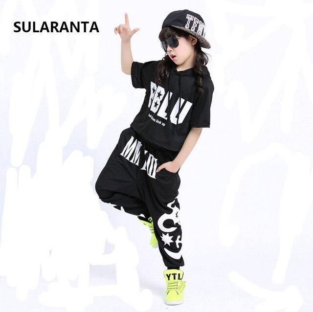 Los niños Hip Hop sudaderas con capucha ropa para niñas niños sudadera  pantalones de baile de 0af2fb7ec9b