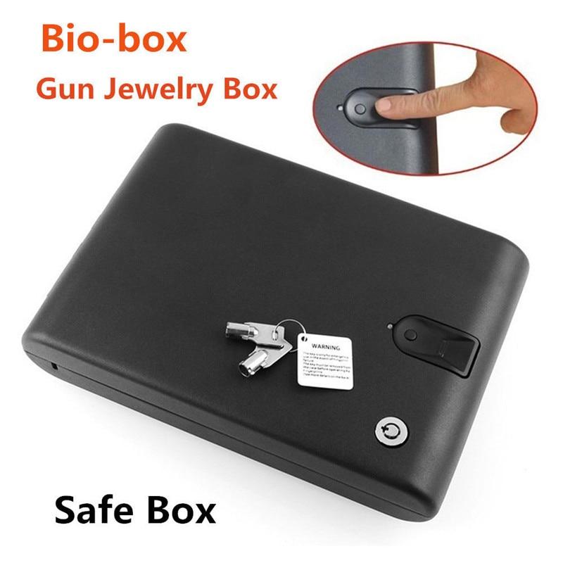 Coffre-fort d'empreintes digitales solide en acier clé de sécurité pistolet objets de valeur boîte à bijoux portable sécurité biométrique coffres-forts d'empreintes digitales coffre-fort