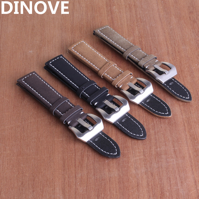 DINOVE High Quality 18mm 20mm 22mm 24mm Waterproof Genuine Leather Watch Strap Band Black Brown Beige colors