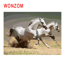 WONZOM Diy Painting By Numbers Abstract White Horse Oil Animal Cuadros Decoracion Acrylic Paint On Canvas Modern Art