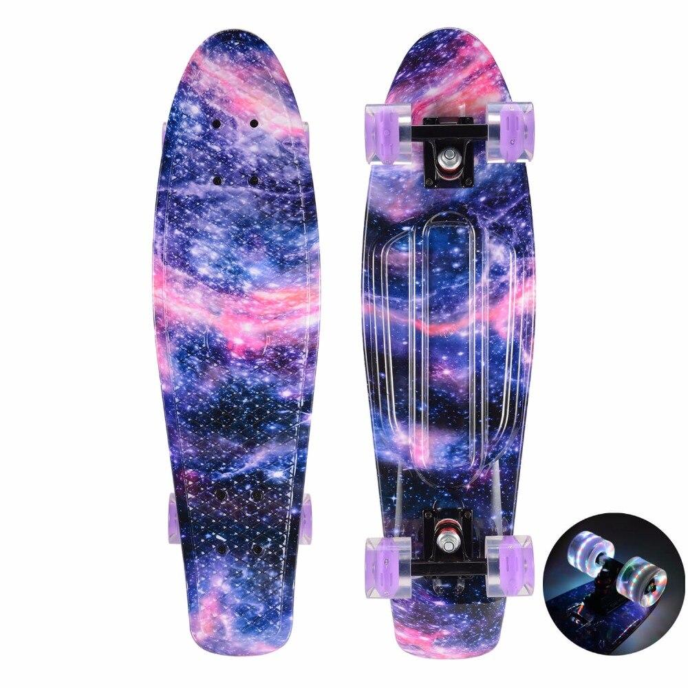 CHI YUAN 27 Inch Cruiser Skateboard Pro Longboard Retro Plastic Skate Board Graphic Series Galaxy Dream Starry Comes Complete handheld power drill