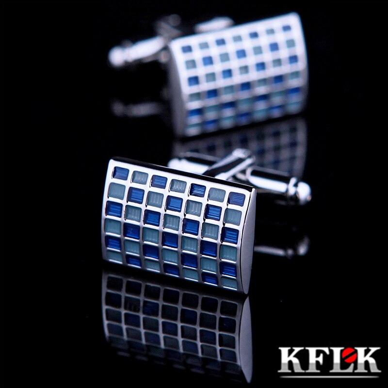 KFLK 2018 bijoux chemise boutons de manchette pour hommes Marque manchette bouton de manchette Bleu Plaid manchette lien Haute Qualité abotoaduras Bijoux