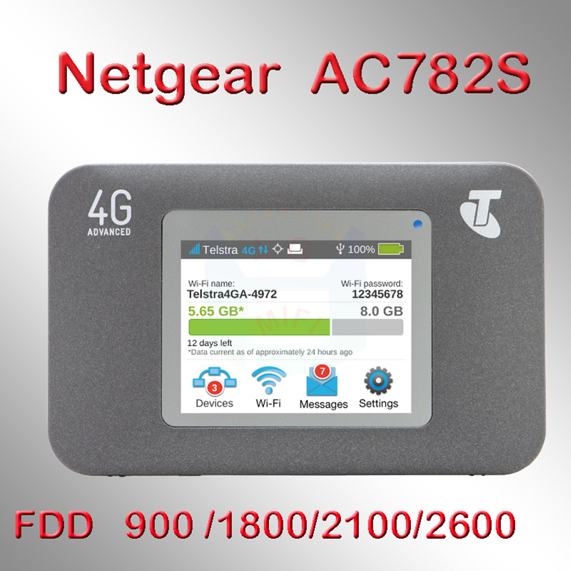 Unlocked Netgear Aircard 782S (AC782S) 4G LTE Mobile Hotspot CAT4 Wifi Router 4G LTE band 1/3/7/8 (900/ 1800/2100/2600 MHz)