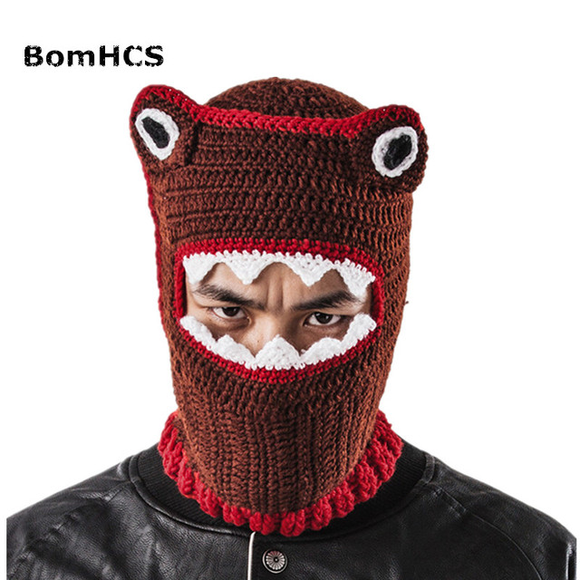 BomHCS Funny Animal Beanie Ski Mask Handmade Knitted Hat Men s Winter Warm  Cap Gift bf211d6f7dd