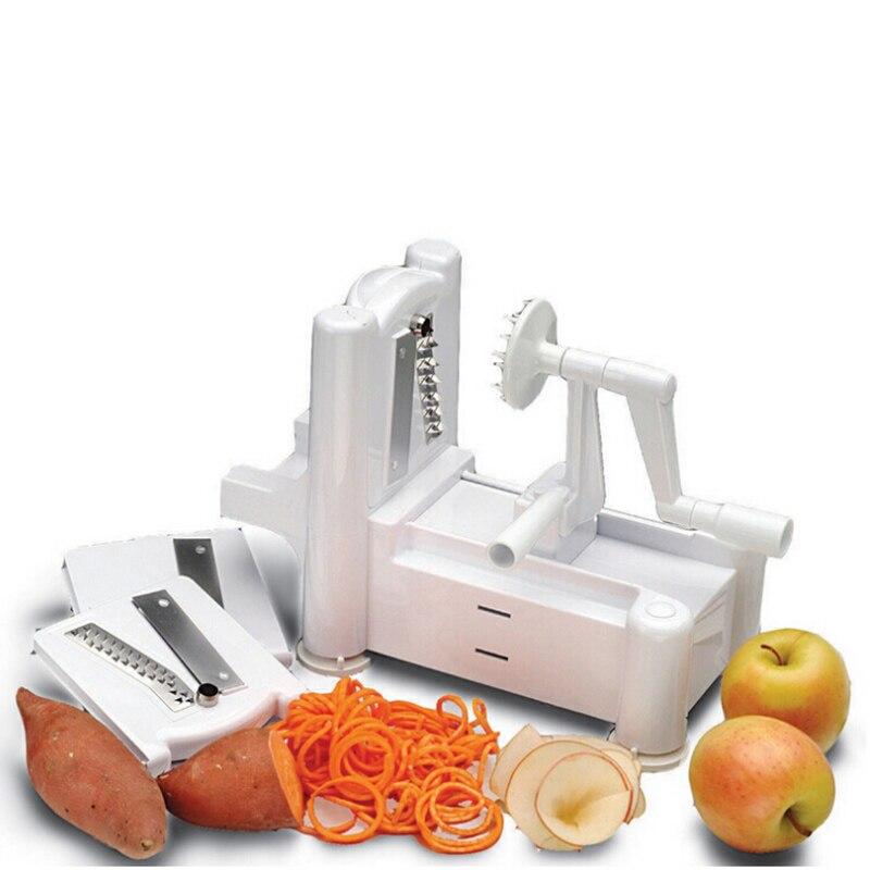 1/Set Essential Tri-Blade Vegetable Slicer Spiralizer Cutter Mandoline Chopper Cooking tools Kitchen Gadget Free Shipping