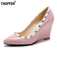 TAOFFEN Frauen Wedges High Heel Spitz Nieten Marke Mode Schuhe Frauen Pumpen Sommer Für Party Schuhe Größe 32-43