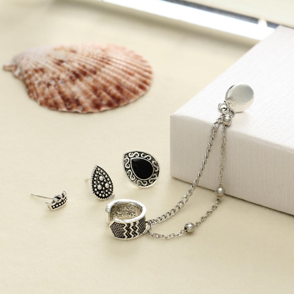 4PCS/Set Bohemian Crown & Water Droplets Chain Fashion Earrings