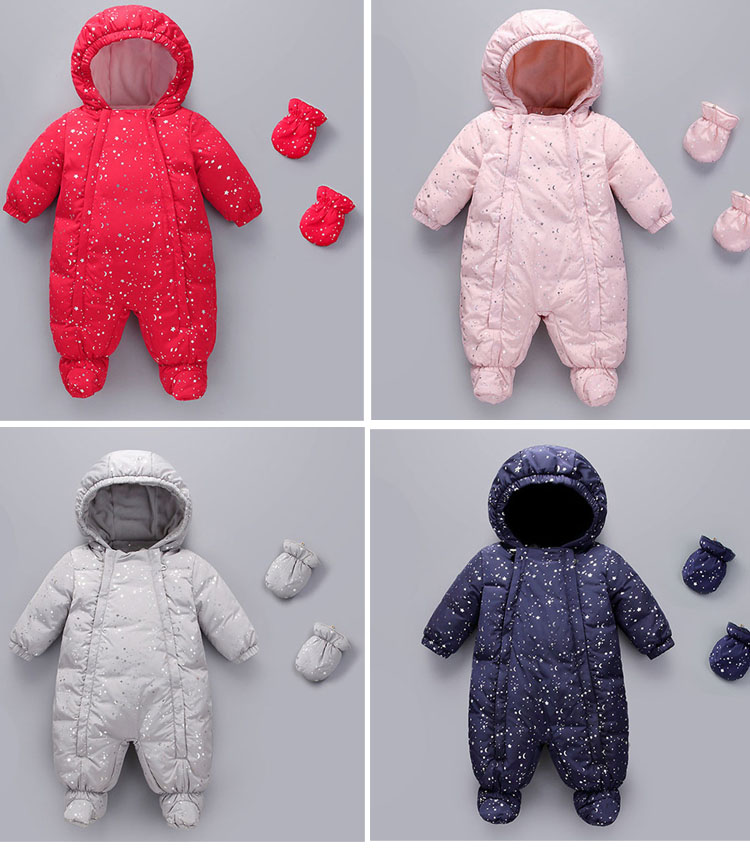 все цены на New baby jumpsuit children's thick down clothes