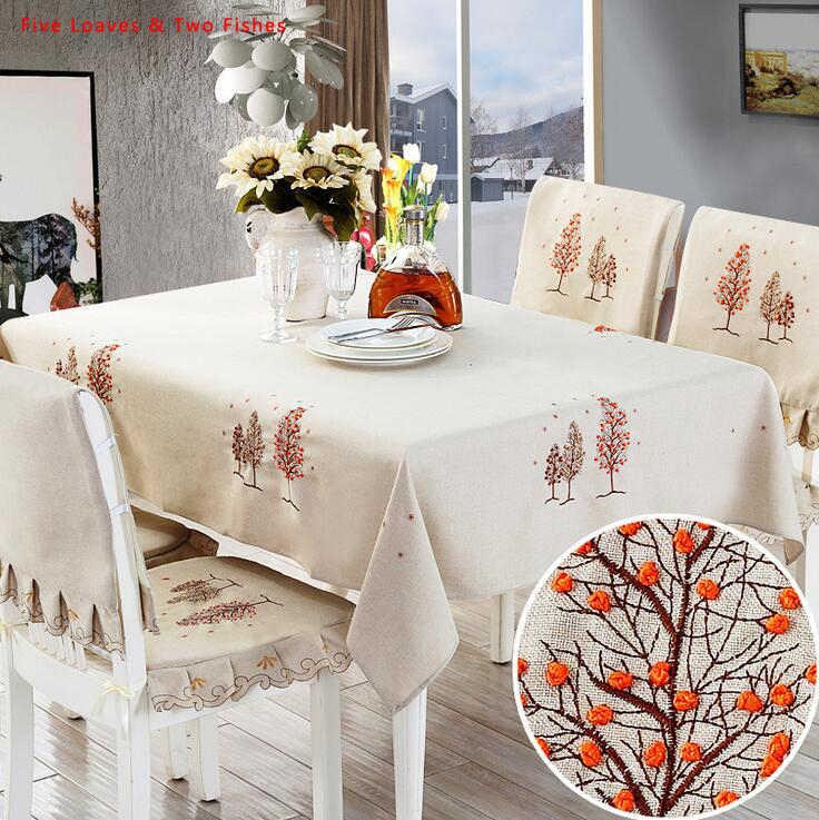 Christmas Tree Cotton Linen Tablecloth Coffee Table Cloth Cover Rectangle Decor