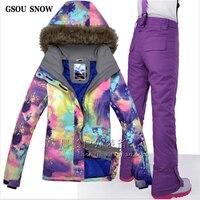 GSOU снег высокое качество с капюшоном лыжный костюм для Для женщин лыжная куртка брюки открытый Водонепроницаемый Сноубординг костюм Костю