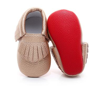 2020 New Hot Sell Red Sole Baby Moccasins Shoes First Walkers PU Leather Newborn Infant Shoes For Boys And Girls 0-2Y