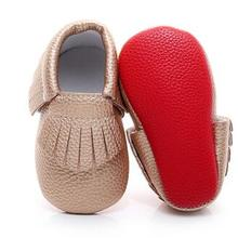 Infant Shoes Baby Moccasins First-Walkers Newborn Girls Boys Sole Red PU for And 0-2Y