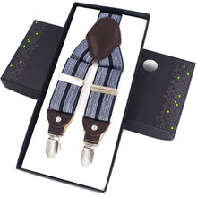 Big promotion 4colors gentleman casual leather suspenders Adjustable 4 clips Mens clip Fashion Suspenders strap