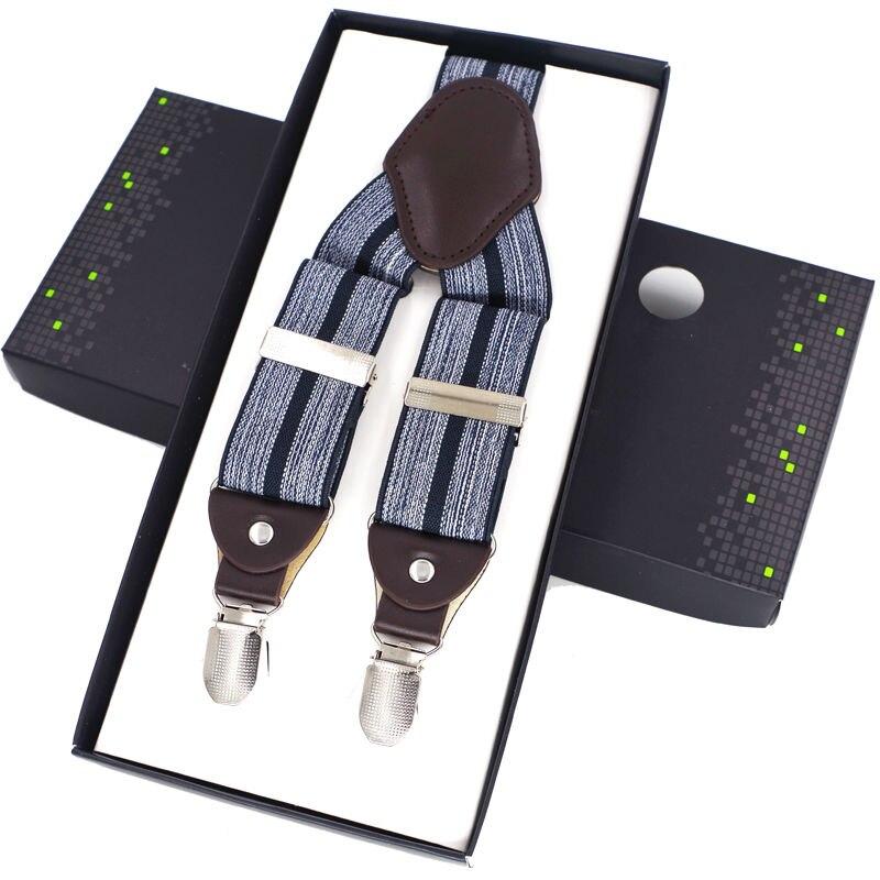 Fashion Leather Suspenders Mans Braces Adjustable 4 clips Suspenders Pants strap suspensorio braces irantes hombre bretelles