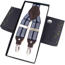 Moda skórzane szelki szelki męskie szelki regulowany 4 klipsy szelki spodnie pasek suspensorio szelki irantes hombre bretelles tanie tanio Dla dorosłych JIERKU Stałe spandex 115cm 144331 3 5cm