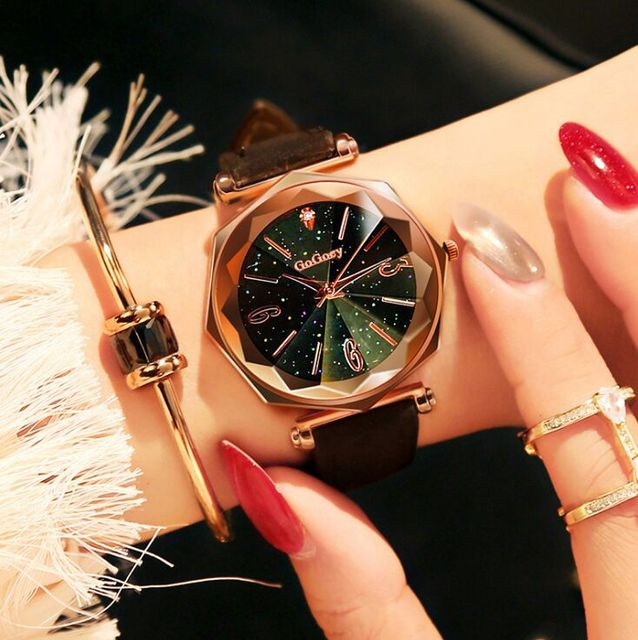 Hot Sales Fashion Gogoey Brand Rose Gold Leather Watches Women Ladies Dress Quar
