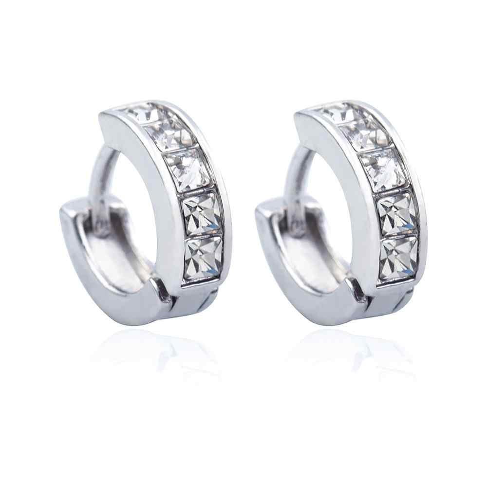 Vintage Nữ Vòng Earrings Cubic Zirconia Earing White Stone Pha Lê Sang Trọng Vòng Tròn Hoop Earring Trang Sức