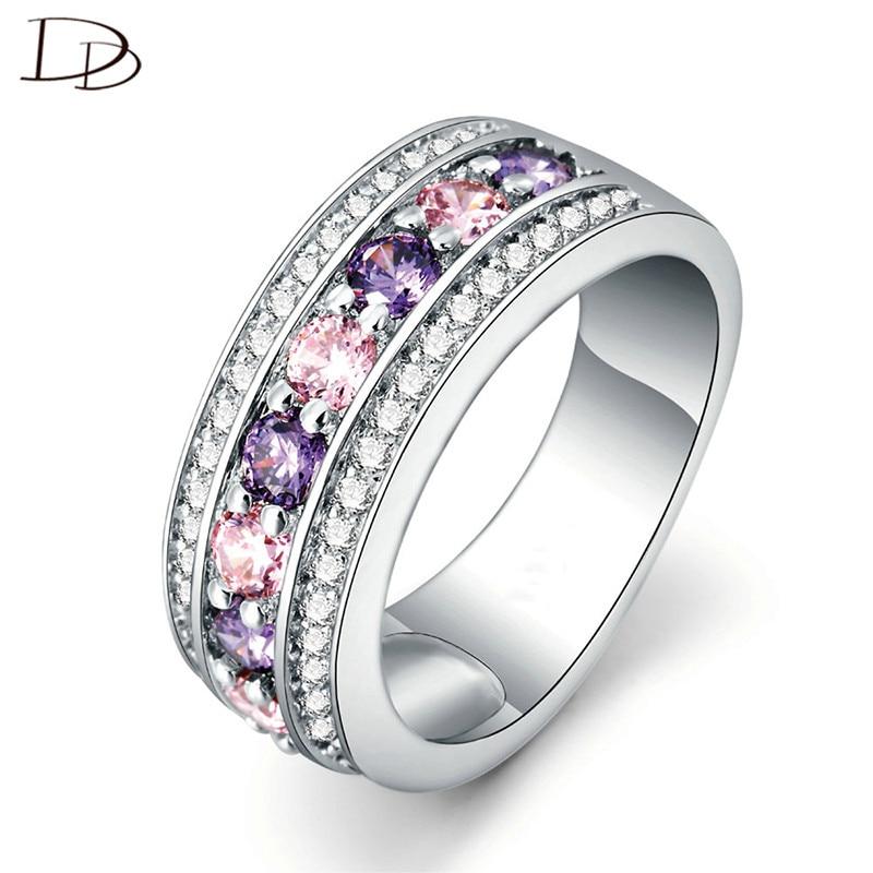 महिलाओं के लिए दौर 925 स्टर्लिंग चांदी के छल्ले बैंगनी और गुलाबी स्फटिक शादी के गहने सगाई की अंगूठी फैशन बैग DD135
